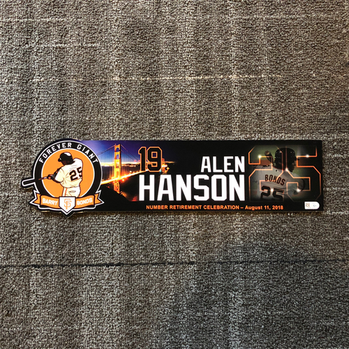 Photo of 2018 San Francisco Giants - Locker Tag - #25 Number Retirement Game - #19 Alen Hanson