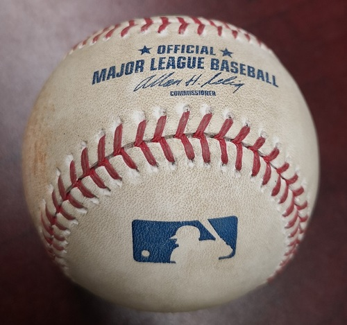 Photo of Authenticated Game Used Baseball - Josh Hamilton struck out against Henderson Alvarez (August 19, 2012 vs Texas Rangers). Top 3.