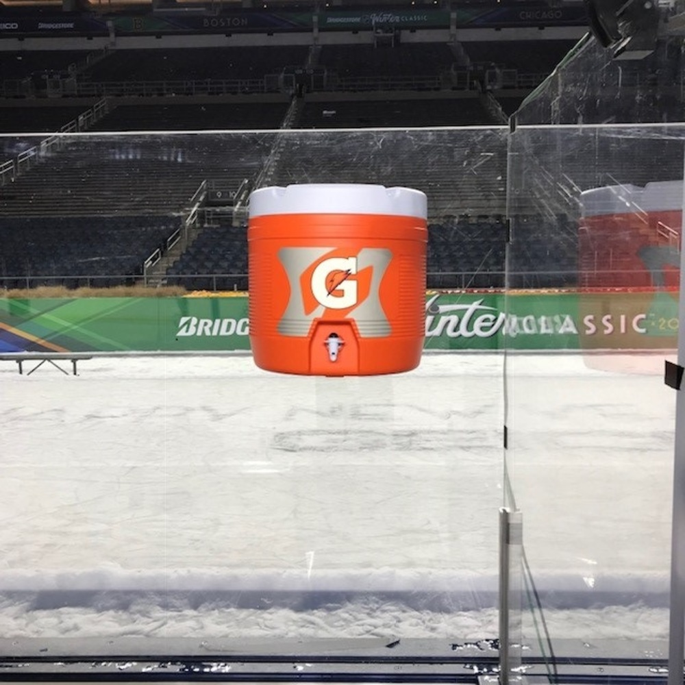 2019 NHL Winter Classic Bench-Used Gatorade Half Cooler - Boston Bruins Bench
