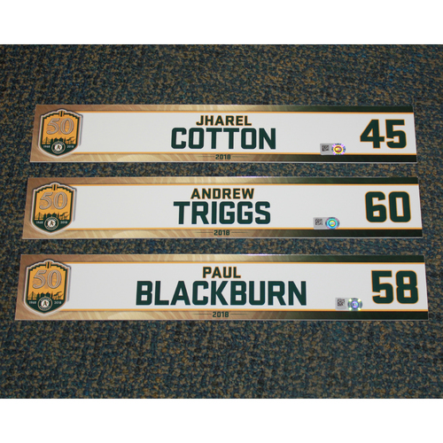Photo of Jharel Cotton, Andrew Triggs & Paul Blackburn 2018 Locker Nameplates