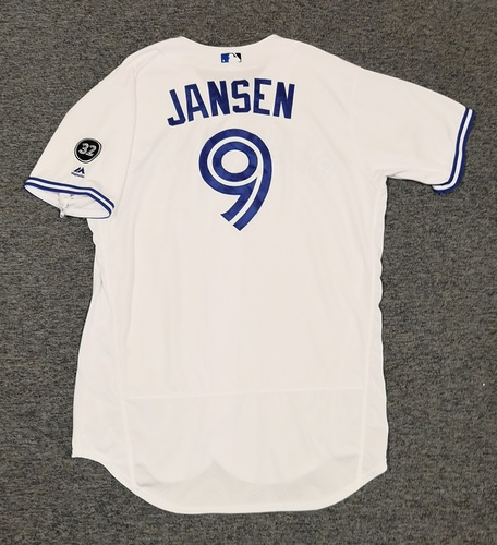 Photo of Authenticated Game Used Jersey - #9 Danny Jansen (August 20, 2018: 1-for-4 with 1 Double). Size 48. Rookie Season.