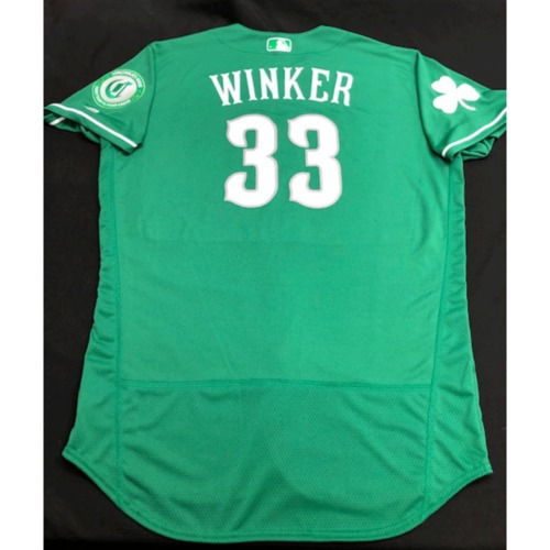 Photo of Jesse Winker -- Team-Issued Jersey -- 2019 St. Patrick's Day