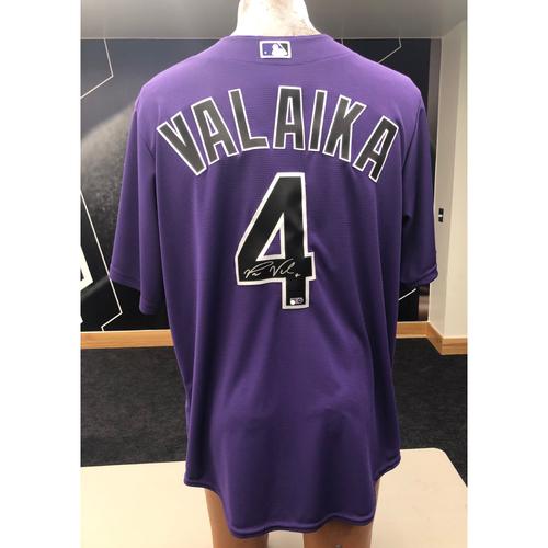 Photo of Colorado Rockies Pat Valaika Autographed Jersey: Alternate Purple