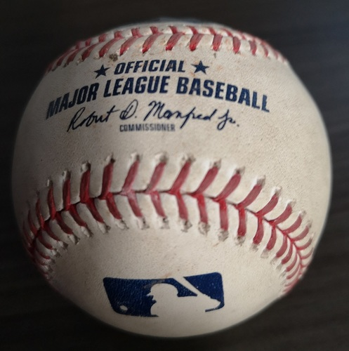 Photo of Authenticated Game Used Baseball: Single by Rowdy Tellez against Cory Gearrin (Aug 17, 19 vs SEA). Bottom 4.