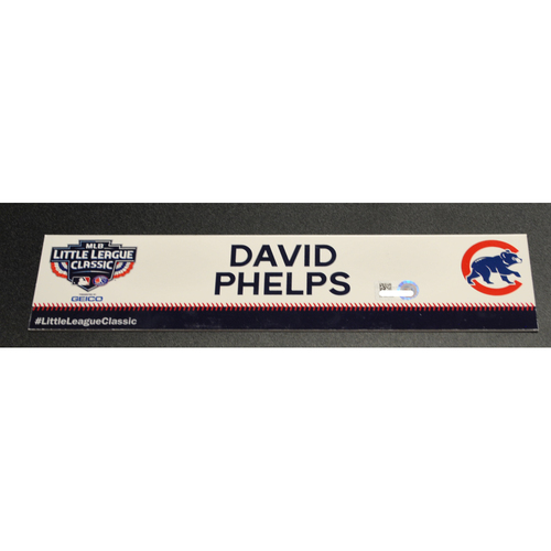 Photo of 2019 Little League Classic - Game Used Locker Tag - David Phelps,  Chicago Cubs at Pittsburgh Pirates - 8/18/2019