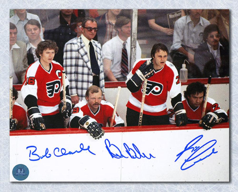 Bobby Clarke Barber & Leach Signed Philadelphia Flyers LCB Bench 8x10 Photo