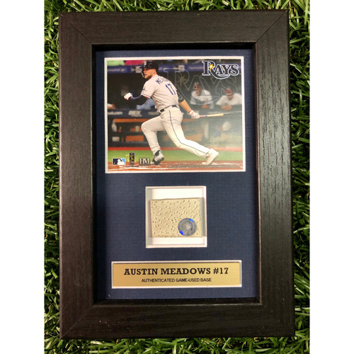 Photo of Rays Baseball Foundation: Austin Meadows Game Used Base Swatch Framed Piece