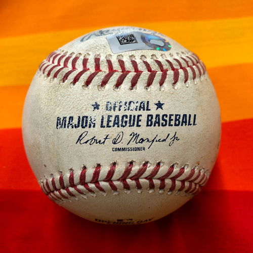 Photo of Opening Day 2020 Game-Used Baseball: Marco Gonzales to Yuli Gurriel (Two Pitches) and Carlos Correa (One Pitch)