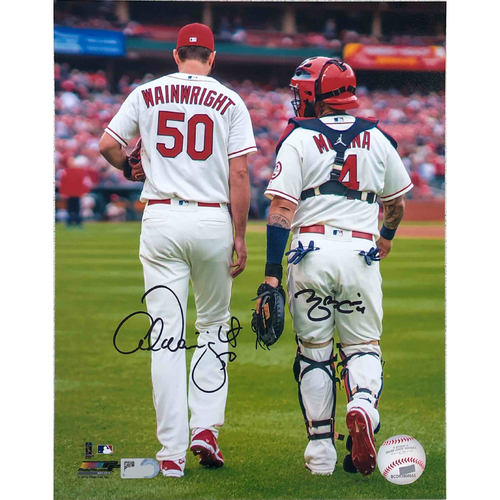 Photo of Cardinals Authentics: Adam Wainwright and Yadier Molina Walking Ivory Jersey Autographed Photo