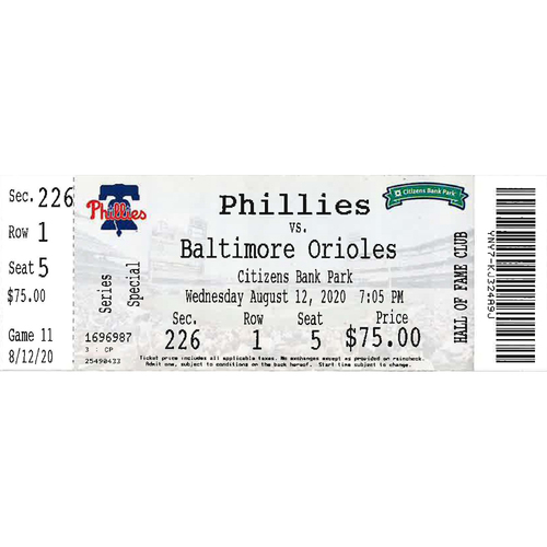 Photo of August 12, 2020 Ticket: Phillies vs. Orioles