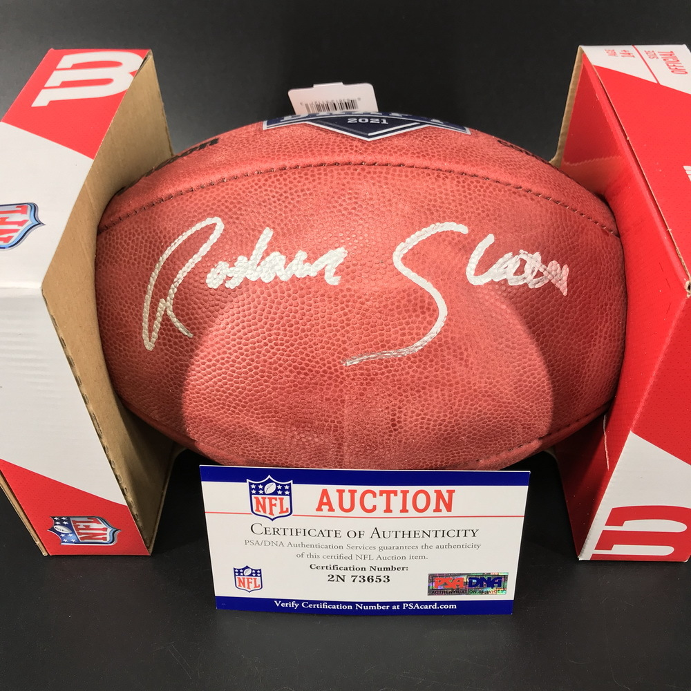 NFL - Chargers Rashawn Slater Signed Authentic Football with 2021 Draft Logo