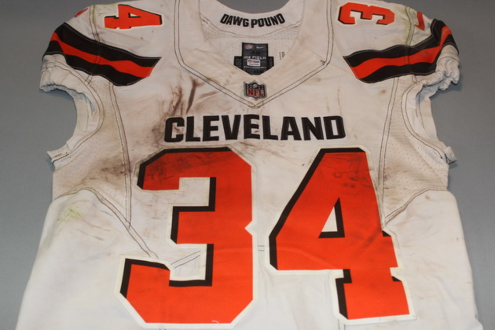 CRUCIAL CATCH - BROWNS ISAIAH CROWELL GAME WORN BROWNS JERSEY (OCTOBER 8, 2017) SIZE 42