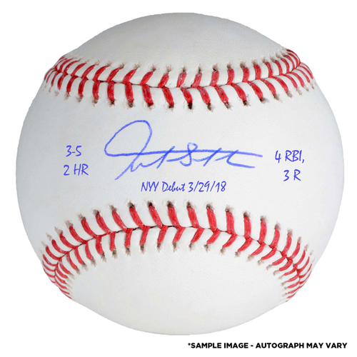 Photo of Giancarlo Stanton New York Yankees Autographed Baseball with Multiple Inscriptions - #27 in a L. E. of 27