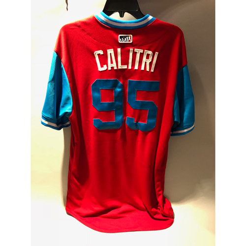 "Photo of Philadelphia Phillies 2018 Little League Classic Game-Used Jersey - Mike ""Calitri"" Calitri - 8/19/2018"
