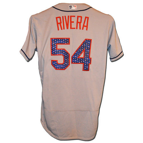 Photo of T.J. Rivera #54 - Game Used Road Grey 4th of July Jersey - Mets vs. Nationals - 7/4/17