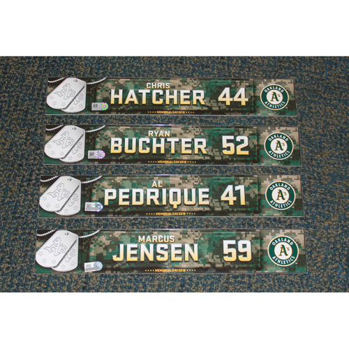 Photo of Ryan Buchter, Chris Hatcher, Marcus Jensen & Al Pedrique 2018 Memorial Day Locker Nameplates