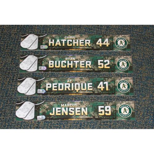 Photo of Ryan Buchter, Chris Hatcher, Marcus Jensen & Al Pedrique 2018 Memorial Day Locker Nameplates