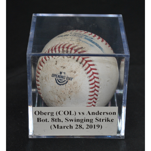 Photo of Game-Used Baseball: Scott Oberg (COL) vs Brian Anderson, Bot. 8th, Swinging Strike (March 28, 2019)