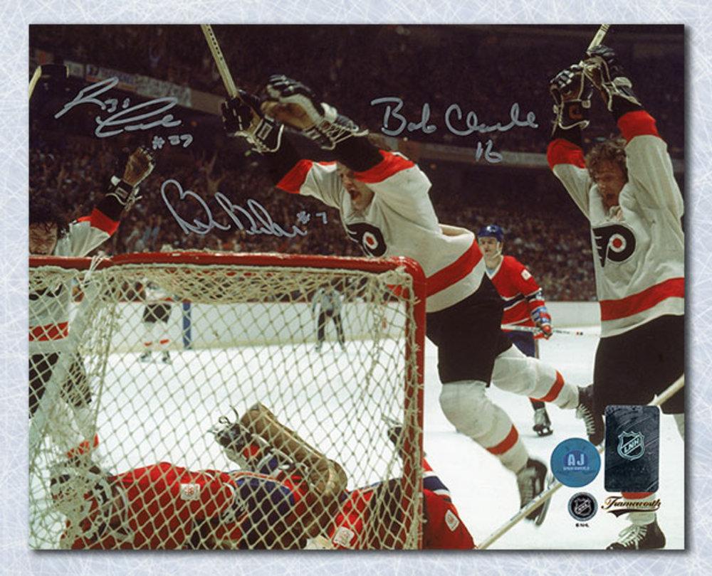 Bobby Clarke Barber & Leach Signed Philadelphia Flyers LCB Line 16x20 Photo
