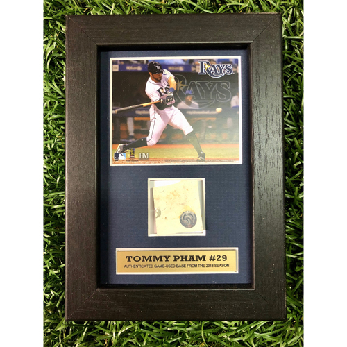Photo of Rays Baseball Foundation: Tommy Pham Game Used Base Swatch Framed Piece