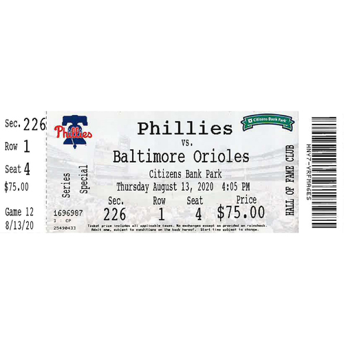 Photo of August 13, 2020 Ticket(Alec Bohm/Connor Brogdon MLB Debut): Phillies vs. Orioles