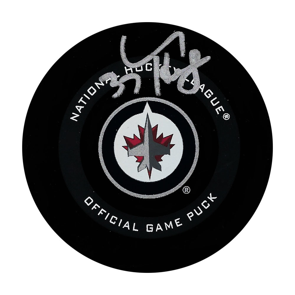 Connor Hellebuyck Autographed Winnipeg Jets Official Game Puck