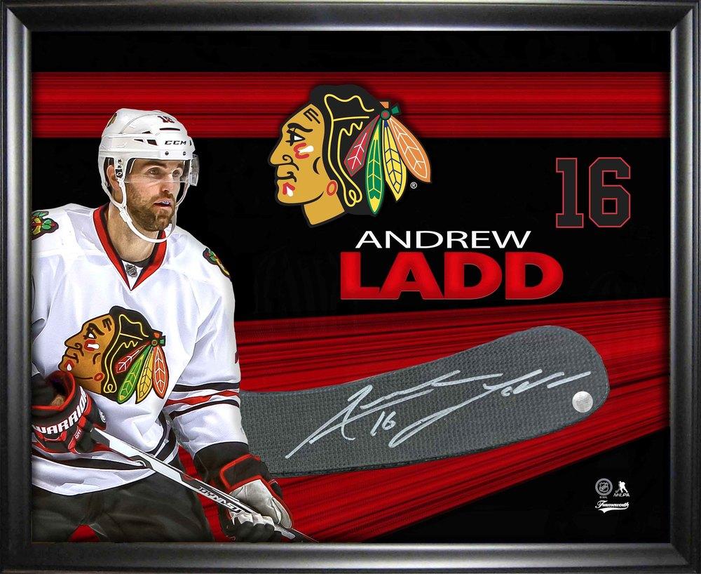Andrew Ladd Signed PhotoGlass Framed Chicago Blackhawks Stickblade