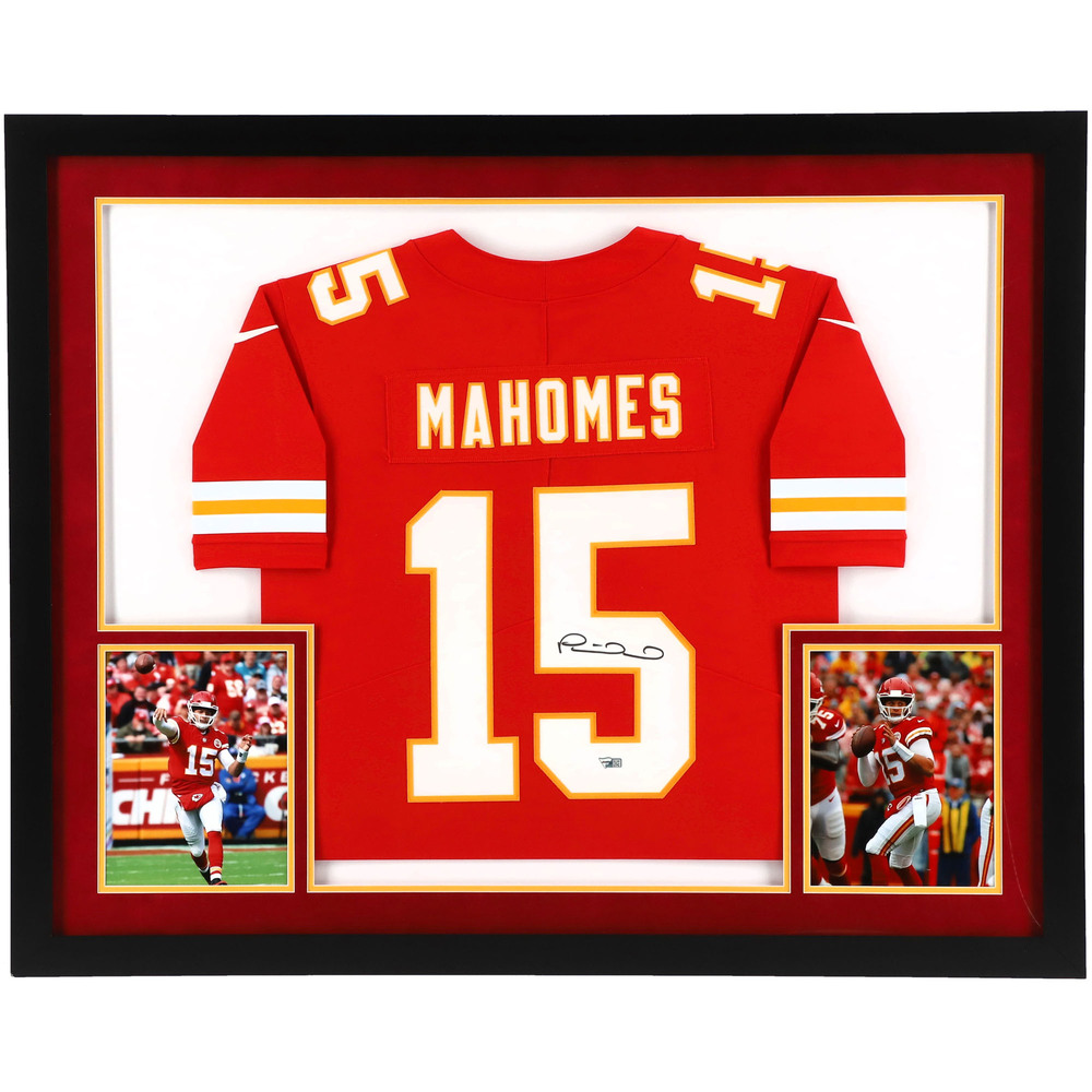 Patrick Mahomes Kansas City Chiefs SM Deluxe Framed Autographed Red Nike Limited Jersey