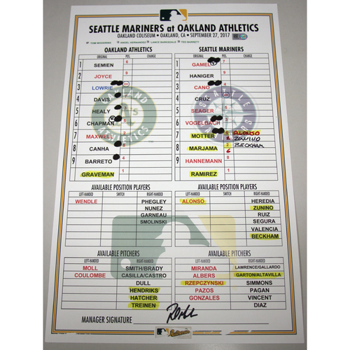 Photo of Lineup Card - 9/27/17 Seattle Mariners vs Oakland Athletics