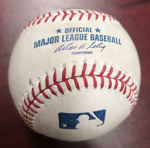 Photo of Authenticated Game Used Baseball - Single by Vernon Wells against J.A. Happ (August 27, 2013 vs New York Yankees). Top 1. Final MLB Season for Wells.