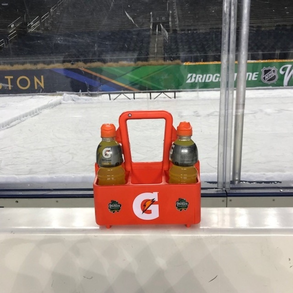 2019 NHL Winter Classic Bench-Used Gatorade Bottle Carrier - Boston Bruins Bench