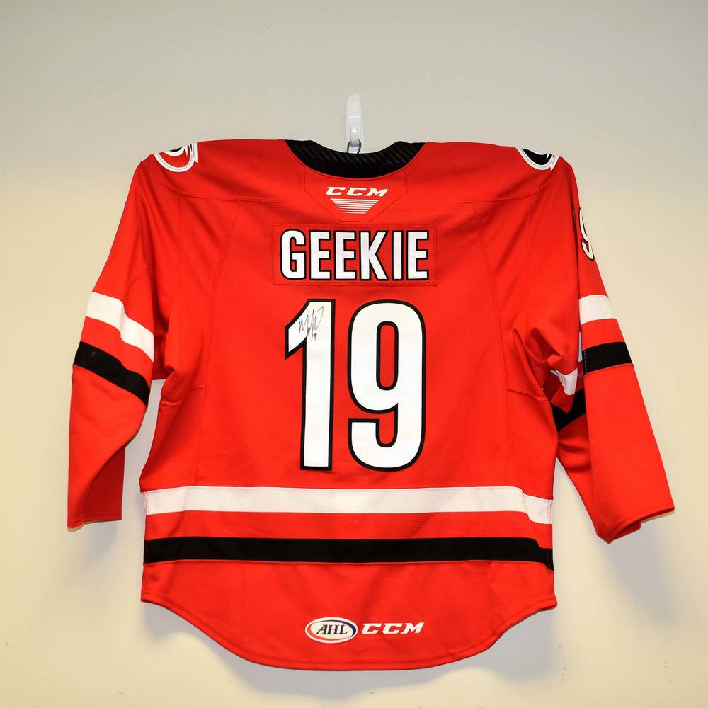 Charlotte Checkers 2019 Calder Cup Finals Game 1 Jersey Worn and Signed by #19 Morgan Geekie
