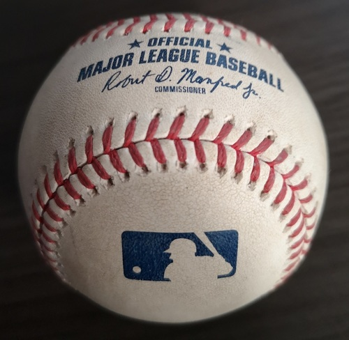 Photo of Authenticated Game Used Baseball: Single by Dee Gordon against Trent Thornton (Aug 17, 19 vs SEA). Top 6.