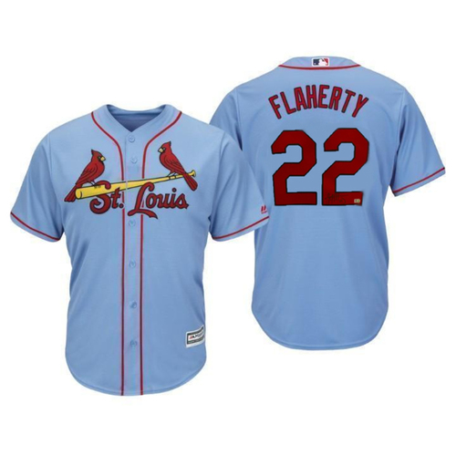 Photo of Jack Flaherty Autographed Cardinals Blue Replica Jersey