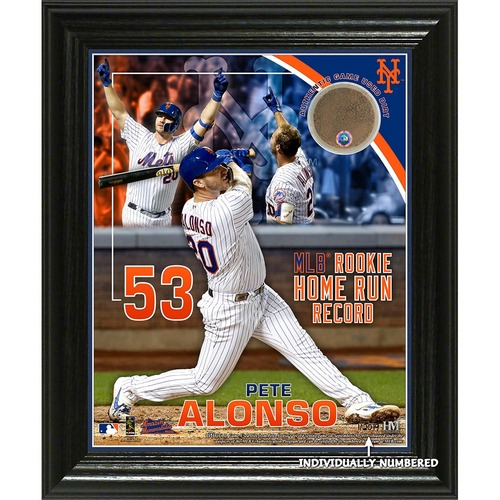 Photo of Pete Alonso Limited Edition Game-Used Dirt Plaque - 2019 MLB Rookie Home Run Record