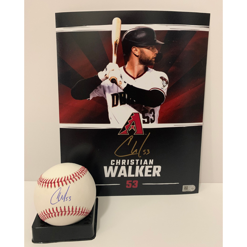 Photo of Christian Walker Autographed 8x10 and Ball