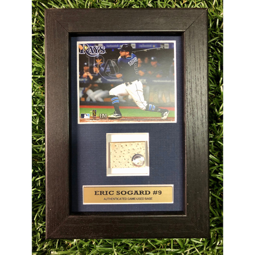 Photo of Rays Baseball Foundation: Eric Sogard Game Used Base Swatch Framed Piece