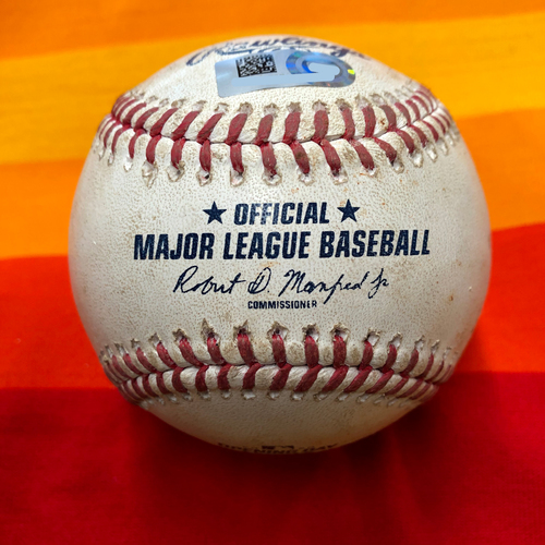 Photo of Opening Day 2020 Game-Used Baseball: Marco Gonzales to George Springer (Ball in dirt)