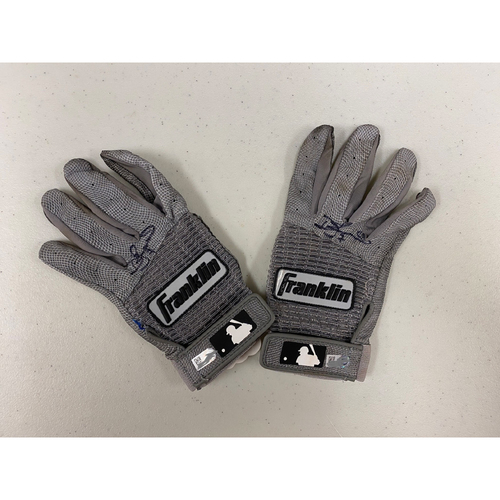 Photo of Autographed Batting Gloves - signed by #7 Donovan Solano - Gray & Black Franklin Batting Gloves