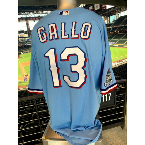 Photo of Joey Gallo Game-Used Powder Blue Jersey - 1st Time Worn (7/26/20) - Hit Rangers 1st Home Run in Globe Life Field History