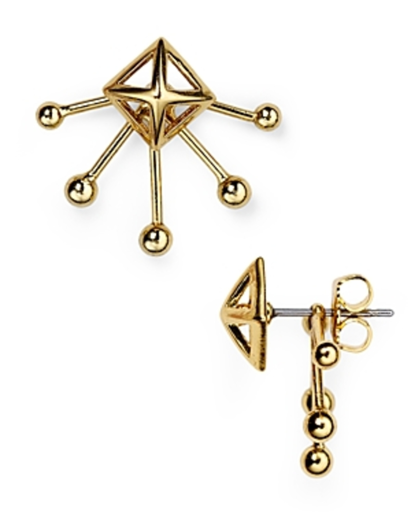Photo of Rebecca Minkoff Pyramid Fan Stud and Jacket Earrings