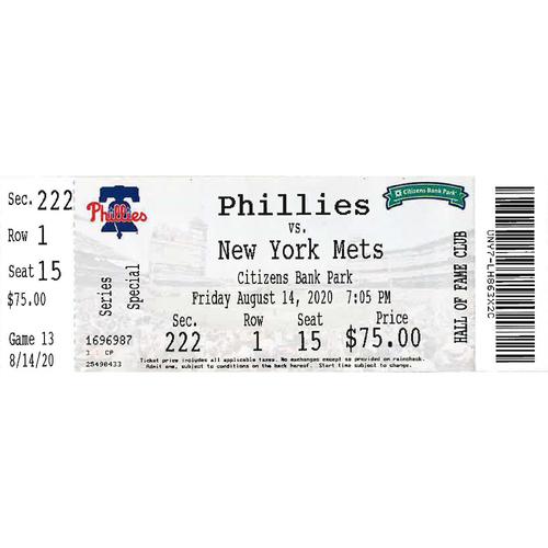 Photo of August 14, 2020 Ticket: Phillies vs. Mets