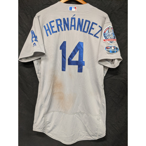 "Photo of Enrique ""Kiké"" Hernandez Game-Used Road Postseason Jersey from Game 7 of the 2018 NLCS"