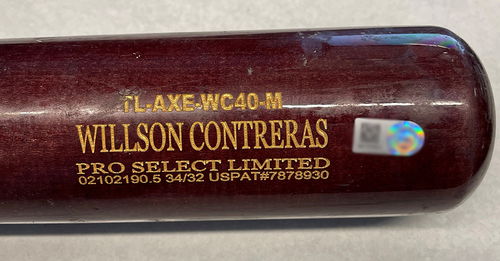 Photo of Willson Contreras Game-Used Cracked Bat -- Brandon Woodruff to Willson Contreras, Foul Ball, Top 1 -- Cubs at Brewers -- 4/13/21