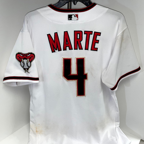 Photo of Ketel Marte Game-Used Jersey (3-4 with Three Doubles) - Braves @ D-backs 9/20/2021 - Size 44