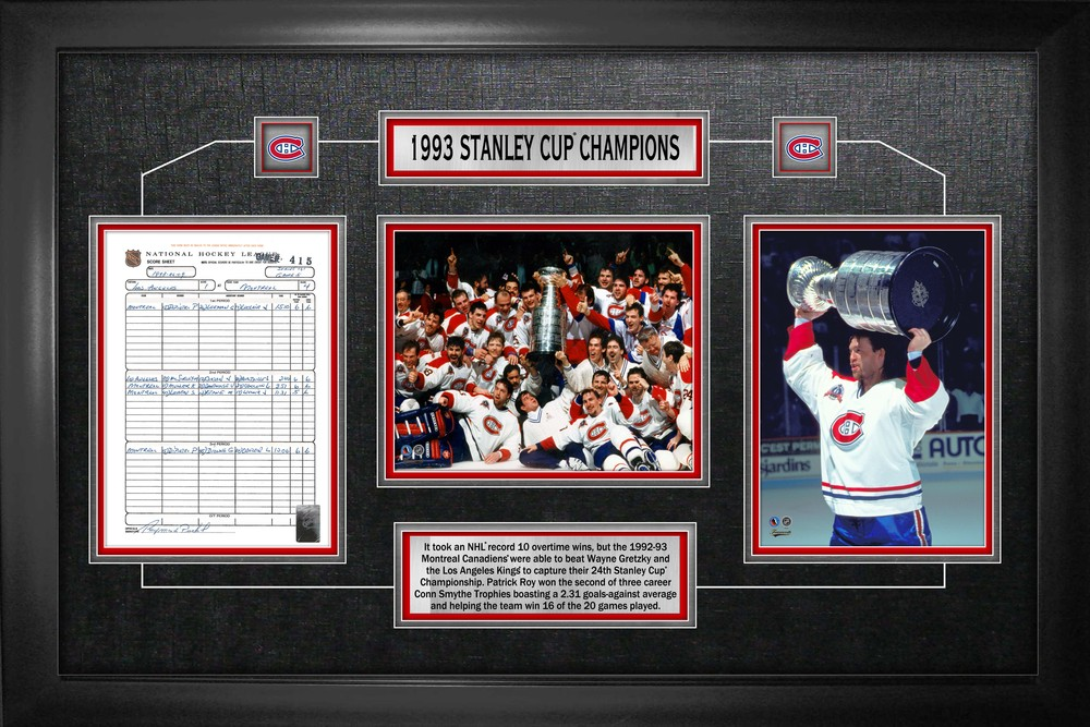 Montreal Canadiens - Framed Scoresheet Collage 1993 Stanley Cup Champions