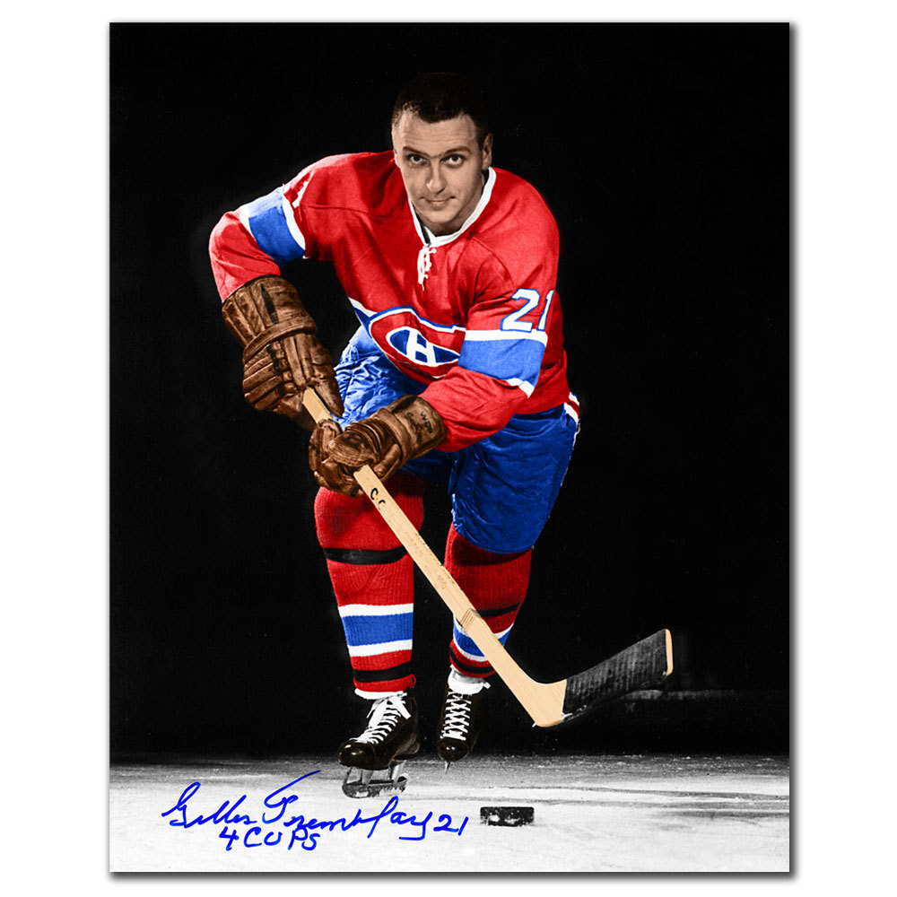 Gilles Tremblay Montreal Canadiens 4 Cups Autographed 8x10