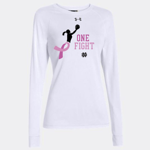 Photo of Notre Dame Women's Basketball Pink Zone Customized Long Sleeve Warm-up Shirt - Size L (A)