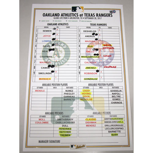 Photo of Lineup Card - 9/28/17 Oakland Athletics at Texas Rangers