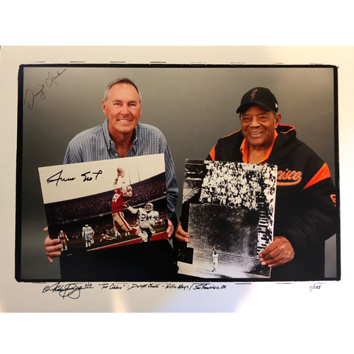 """Photo of San Francisco Giants Auction - """"The Catch"""" Dual Signed 18x24 Willie Mays & Dwight Clark Lithograph - #1 of 125 (Not Authenticated by MLB)"""